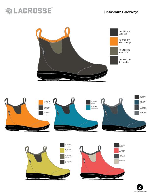 LaCrosse Lifestyle  Women's short rubber boot color options.