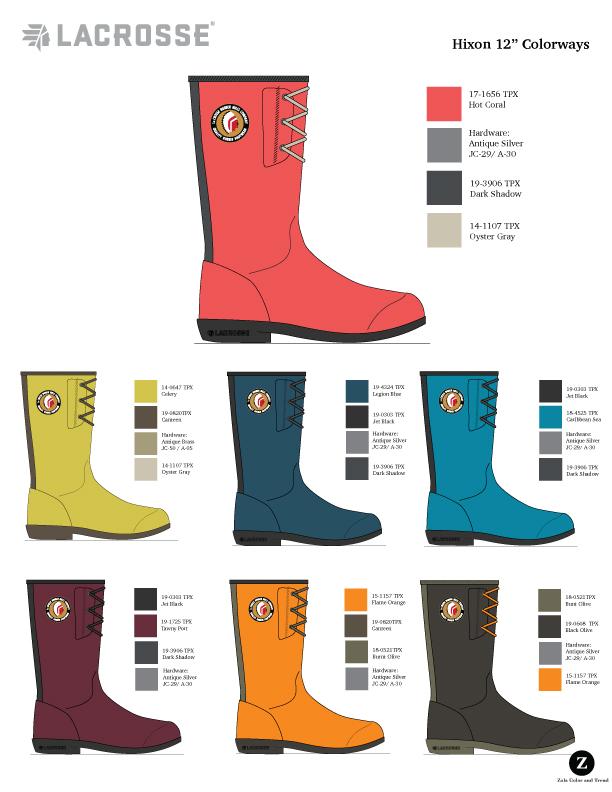 "LaCrosse Lifestyle  Women's 12"" rubber boot color options."