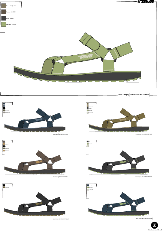 """Teva  """"green"""" sandal project utilizing recycled materials and colors that reflect that."""