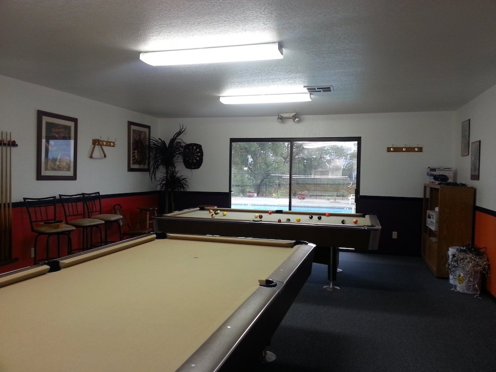 Billiard & Pool Room overlooking the Swimming Pool area