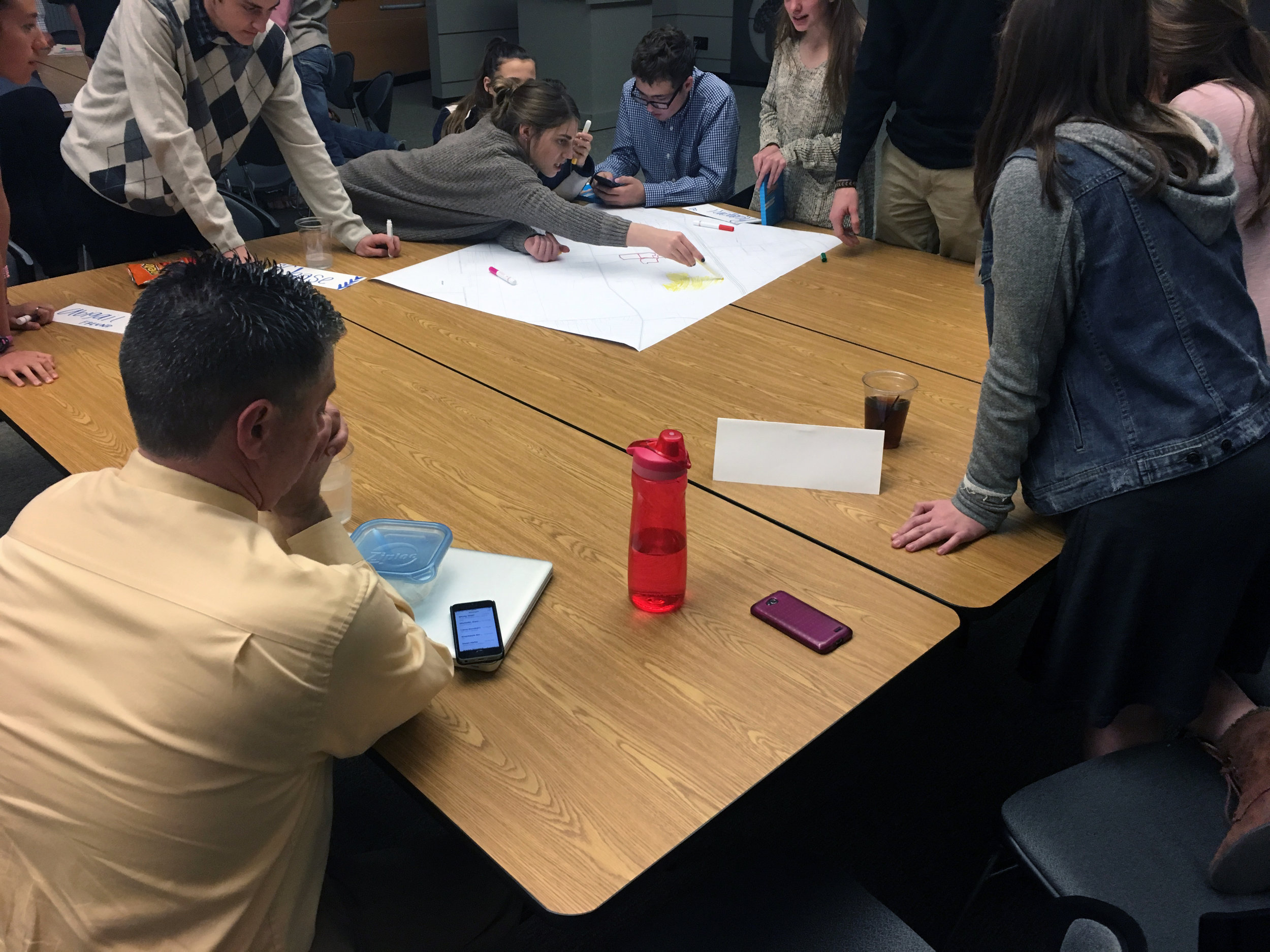 Teens worked together in small groups.