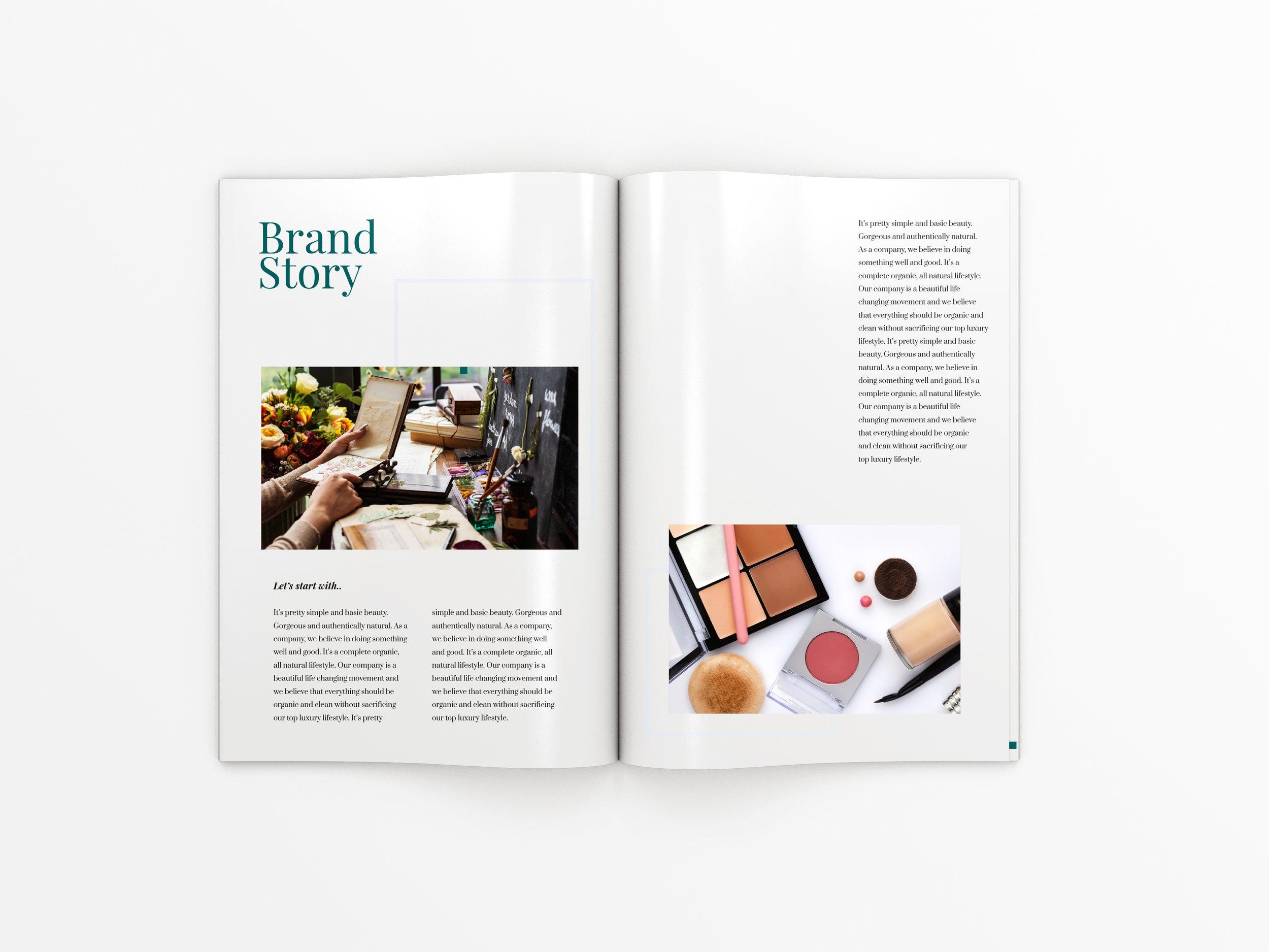 Beauty Brochure Spread - Brand Story