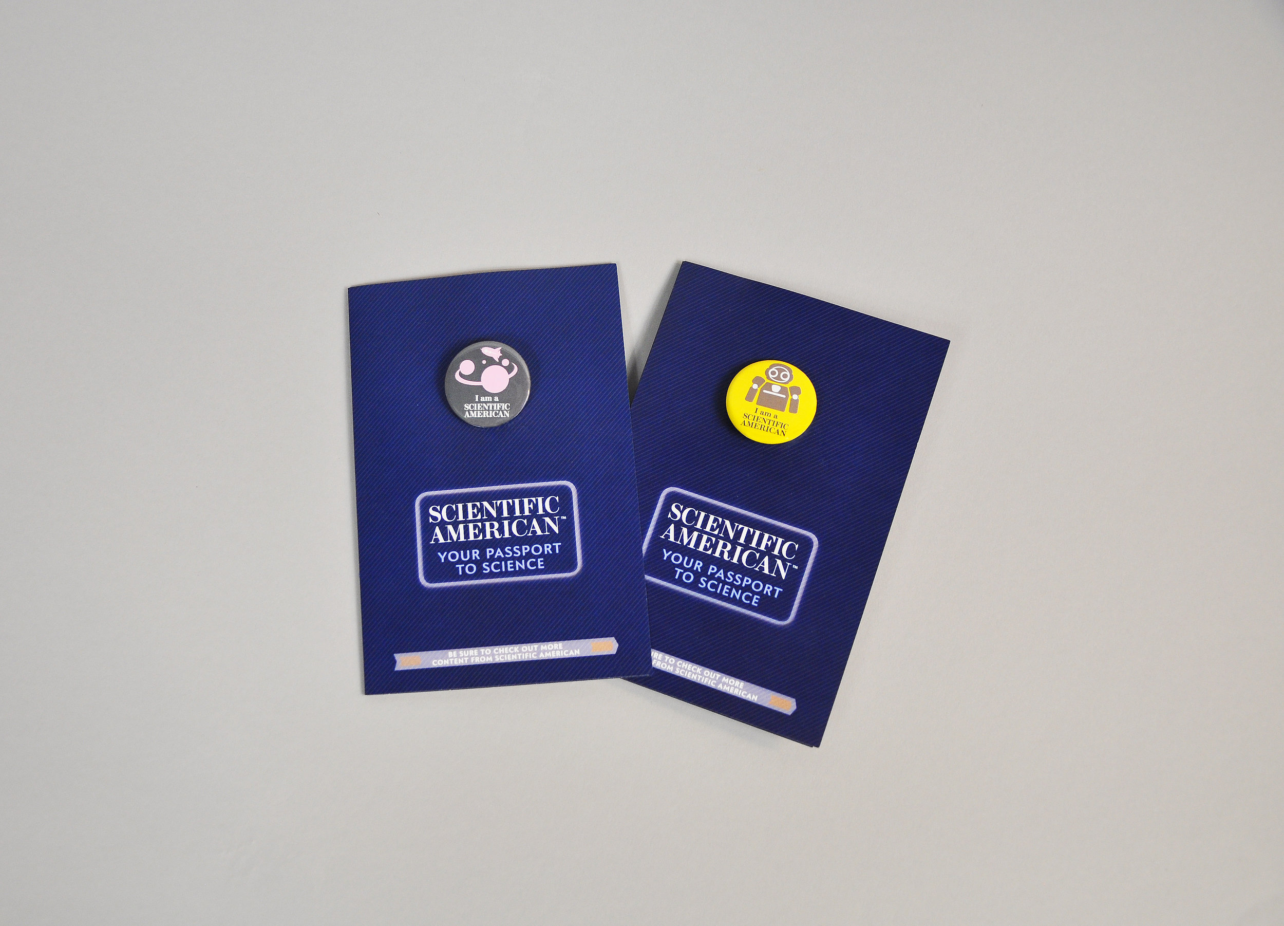 Passport Button Brochure Closed with buttons on the front