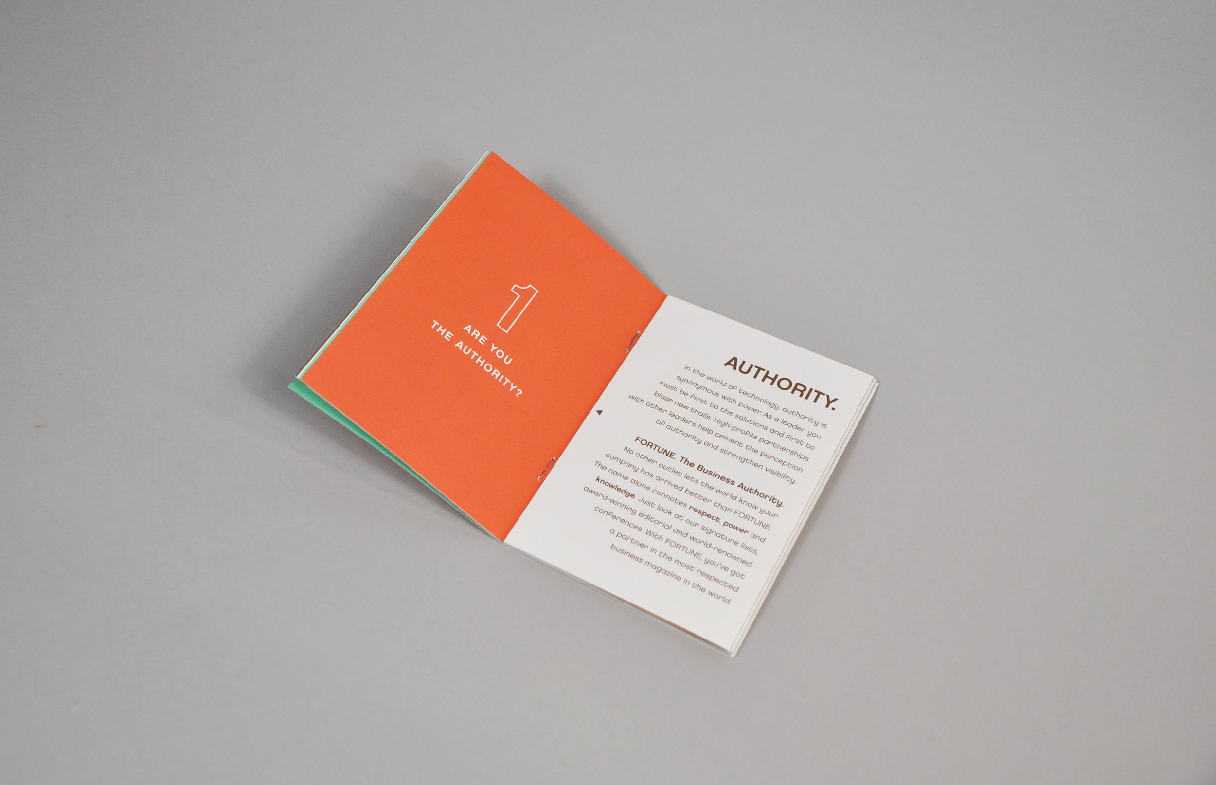 Tech Brochure interior spread with orange & white background