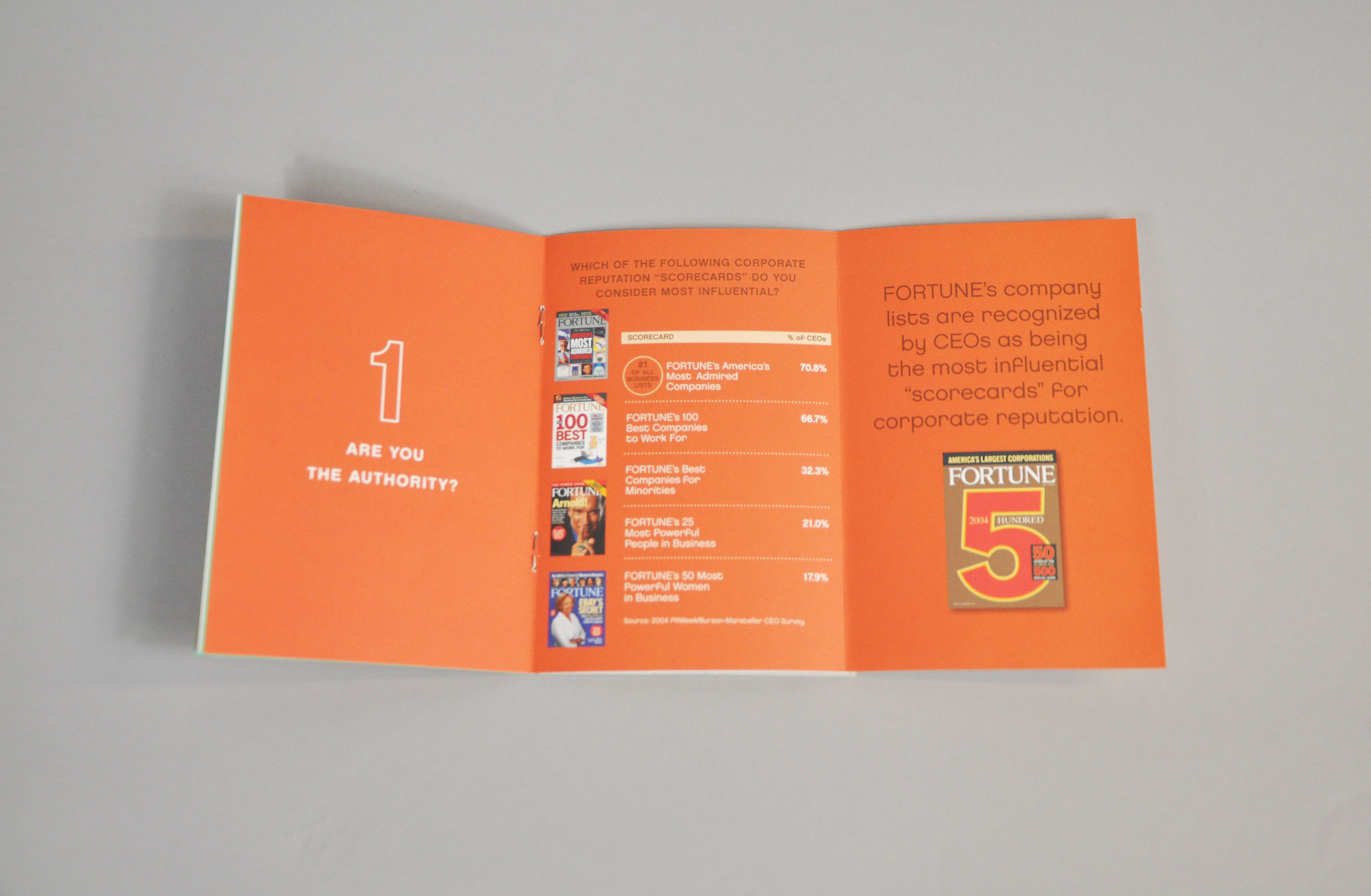 Tech Brochure interior spread with orange background