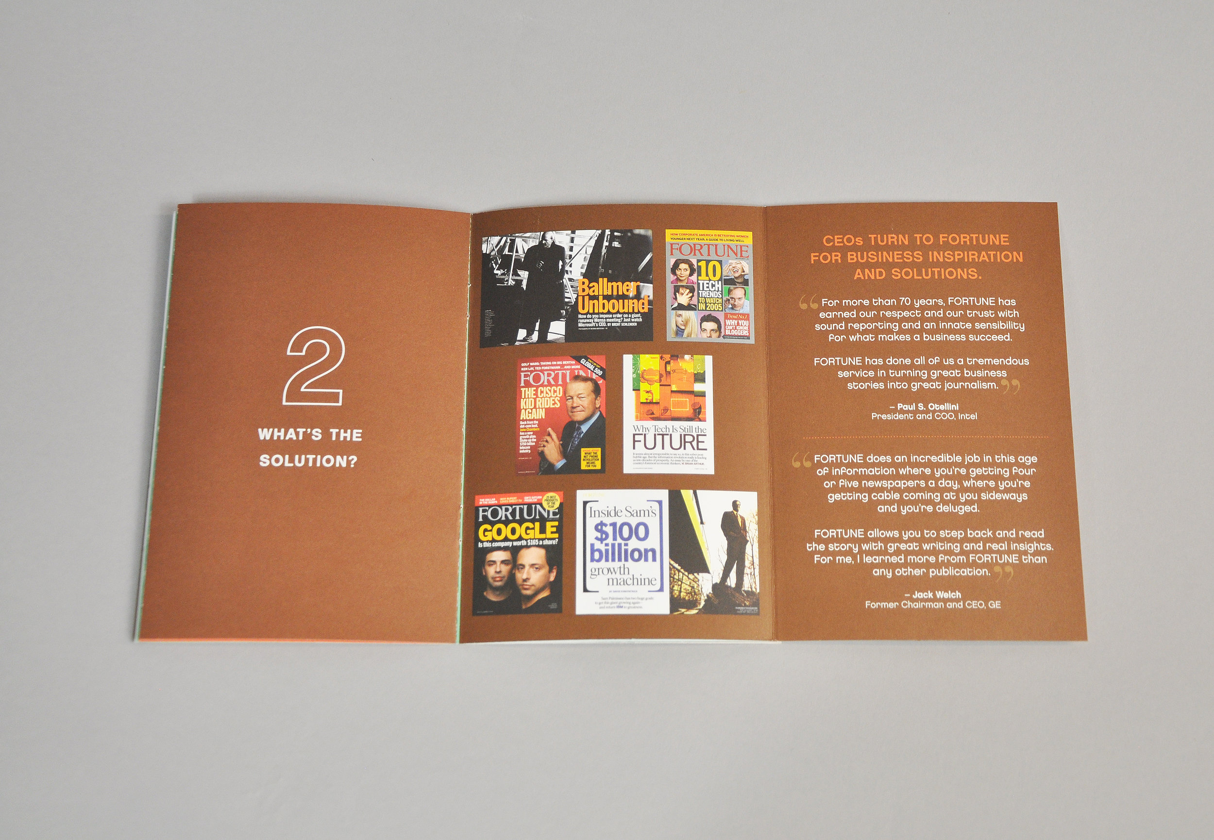 Tech Brochure interior spread with light brown background