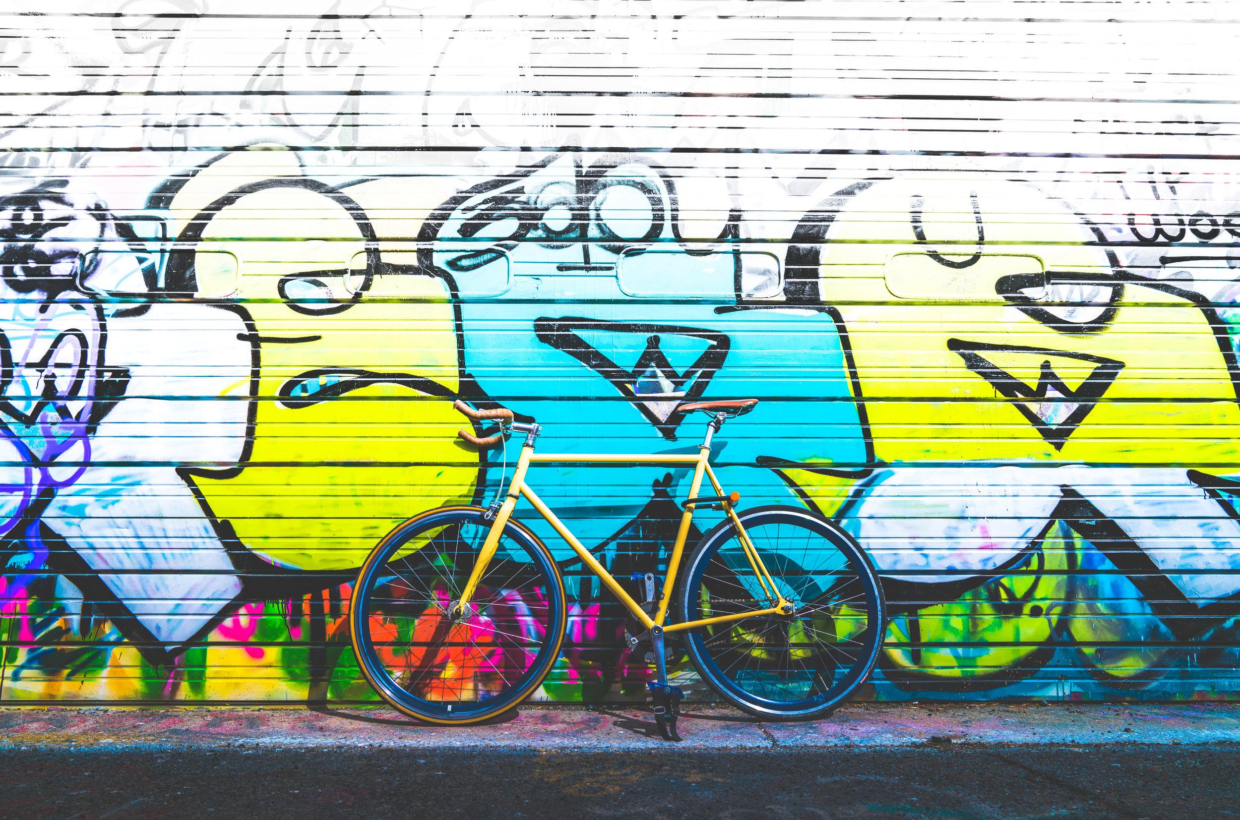 """My favorite alleyway with my favorite bike in my favorite hometown. The infamous """"graffiti alley"""" in Billings, Mt."""