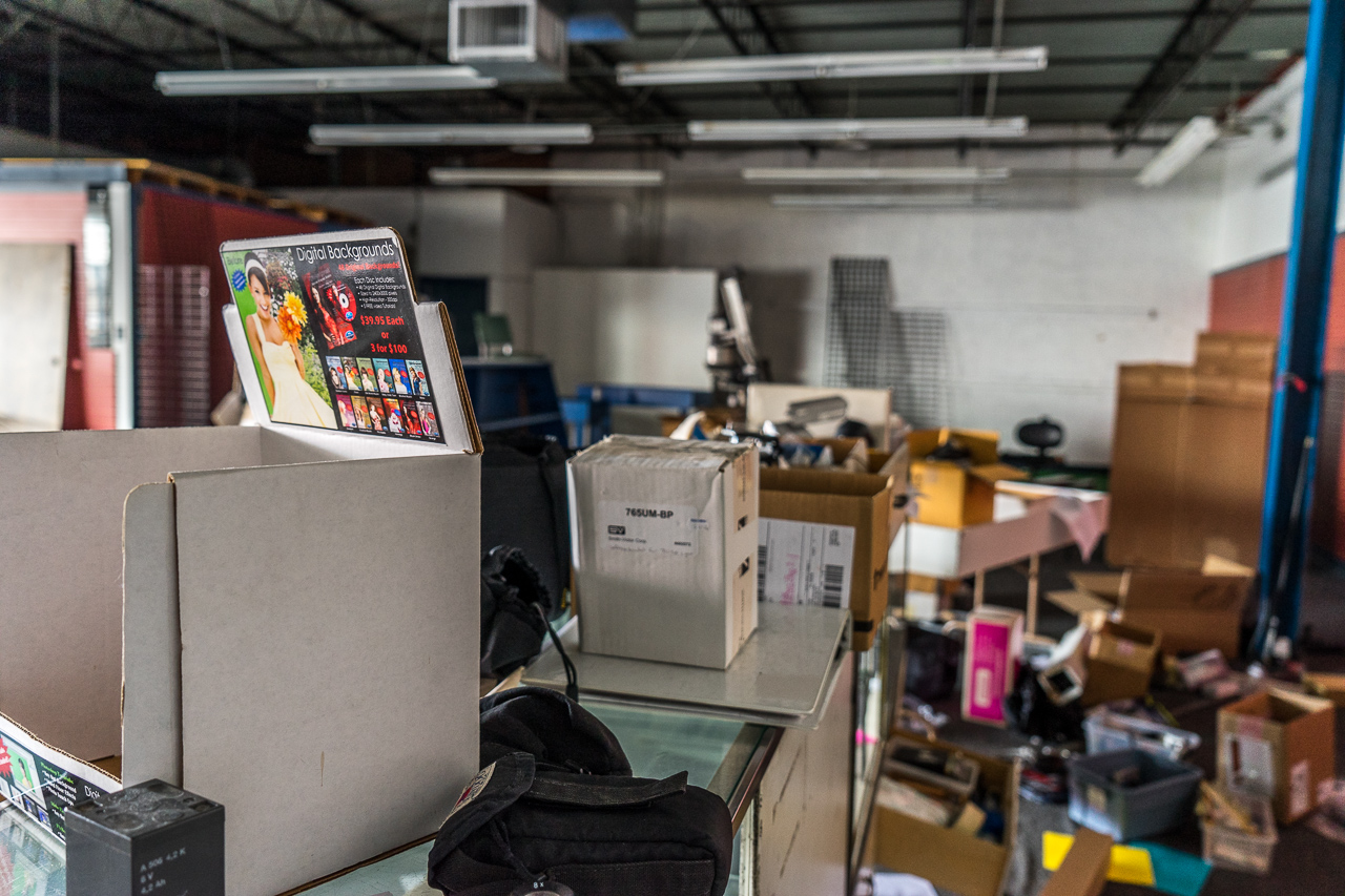 Behind the used equipment counter