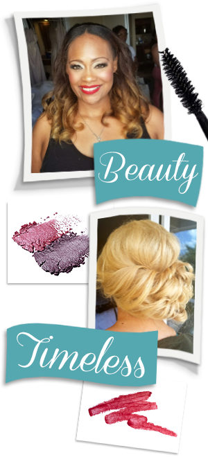Beauty and Timeless. Banner image featuring brides after hair and makeup.