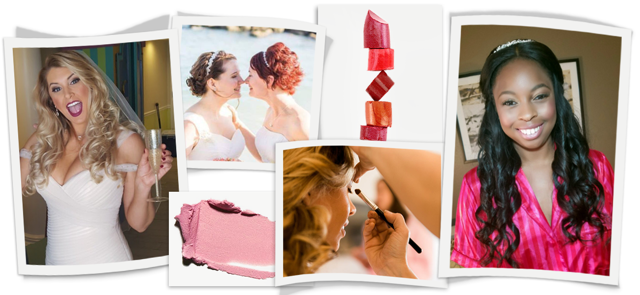 Banner image of brides and wedding party on wedding day. Picture of brides receiving makeup services.