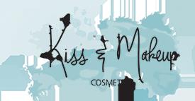 Image of Kiss and Makeup Cosmetics logo.