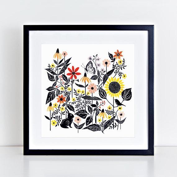 Brengare Studio //  Whimsical Garden Archival Art Print