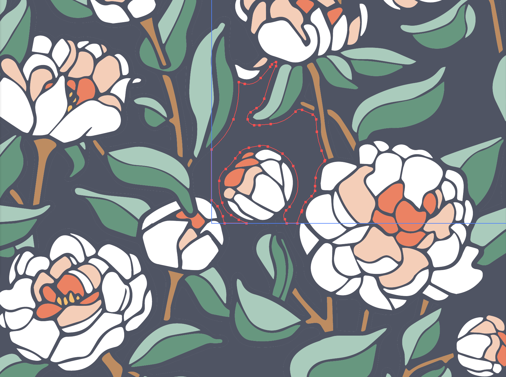 "This image shows one of the ""building blocks"" or digital pieces of the Coral Charm Peony pattern."