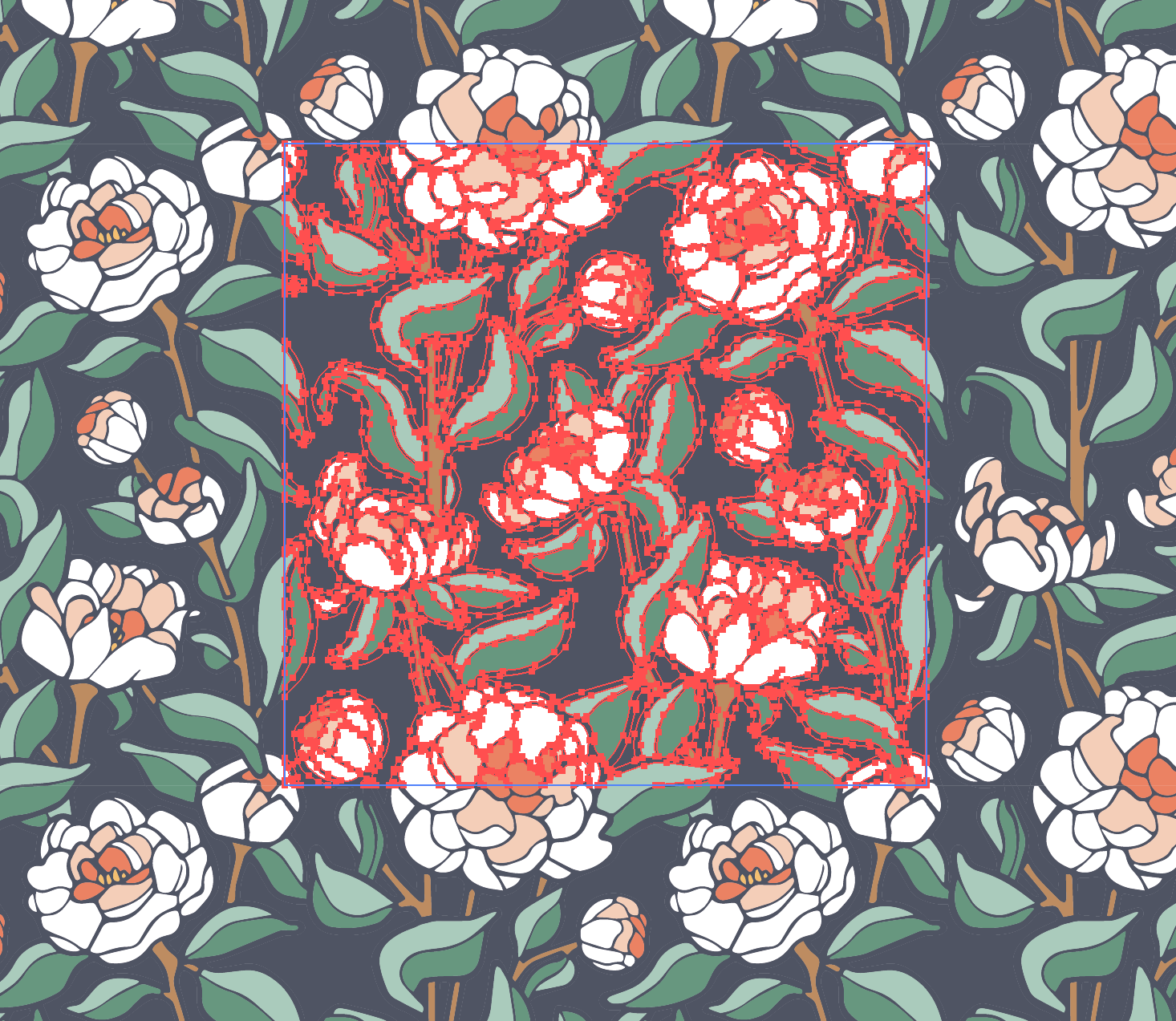 The original repeating block of the Coral Charm Peony pattern.