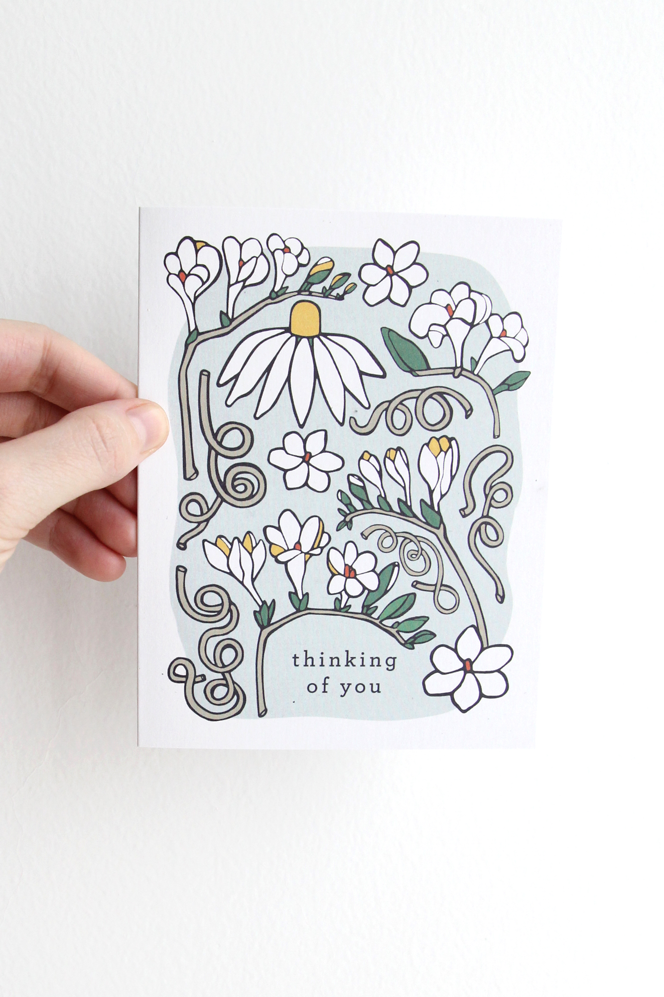 Thinking of You Card - Sea Foam Freesia