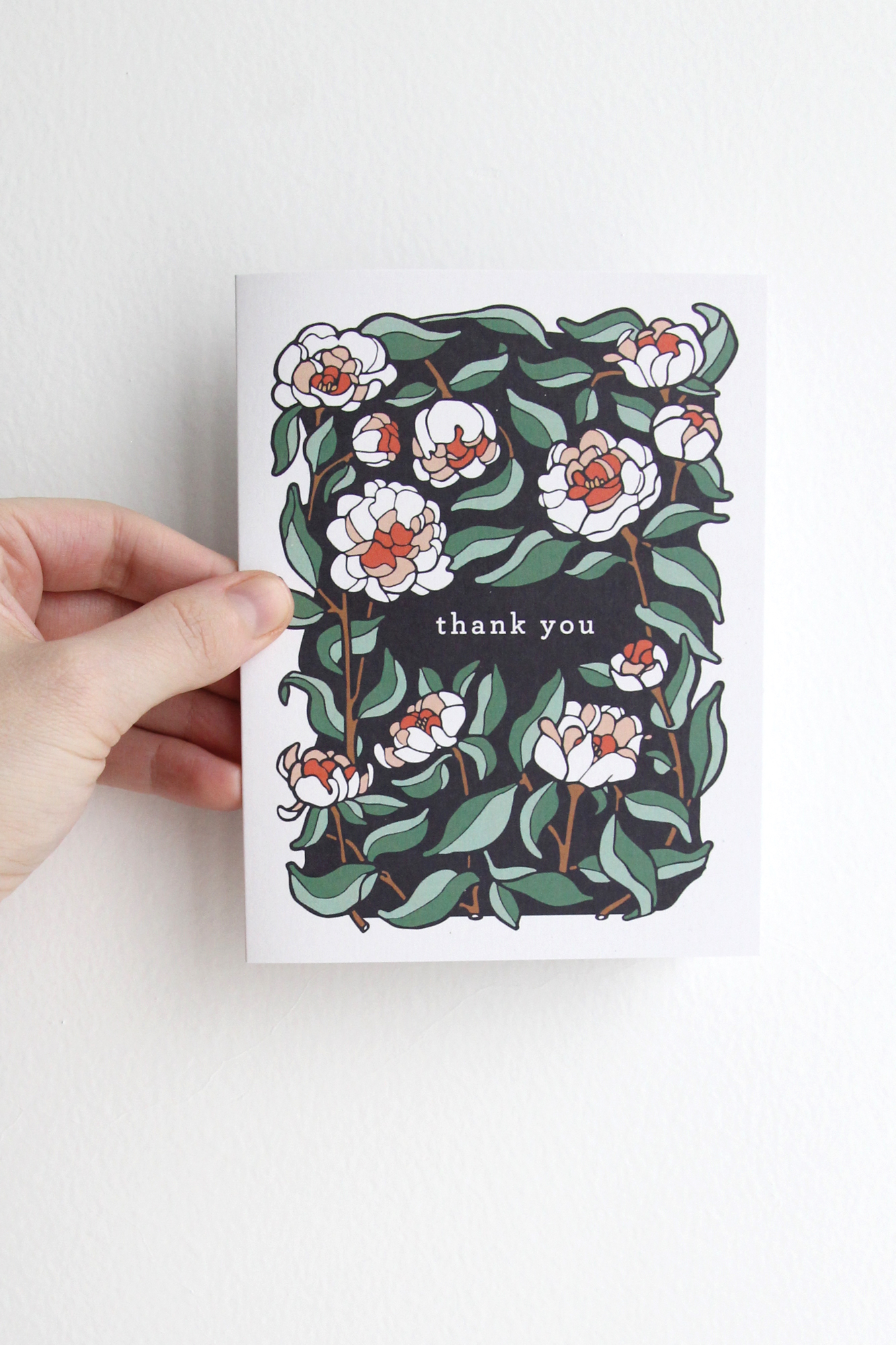 Thank You Card - Coral Charm Peony