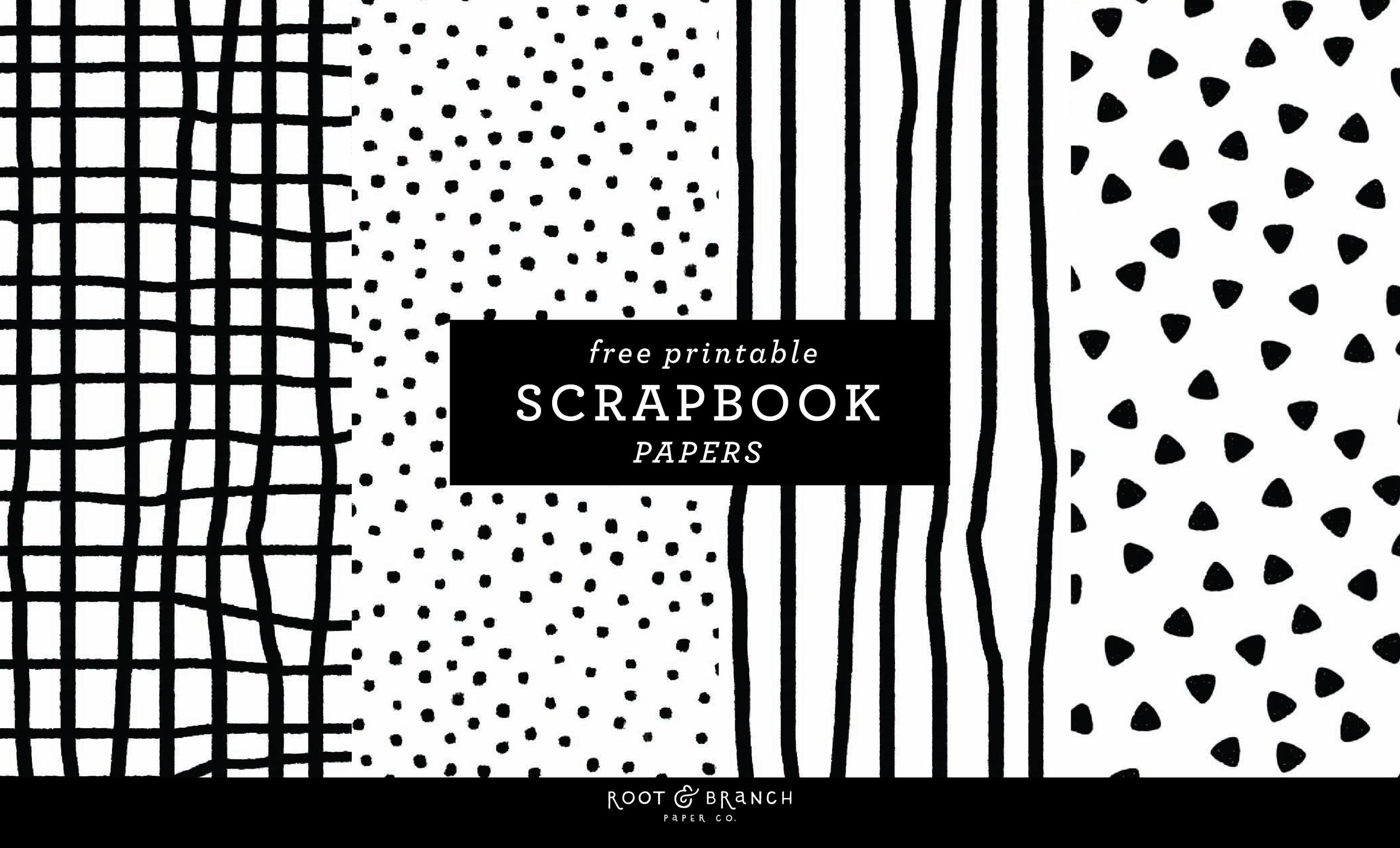 - Free Printable Scrapbook Paper Black and White, Scrapbook Paper Printable PDF Free Download, Scrapbooking Freebies, Printable Scrapbook Paper Designs BW | From the Root & Branch Paper Co. Blog
