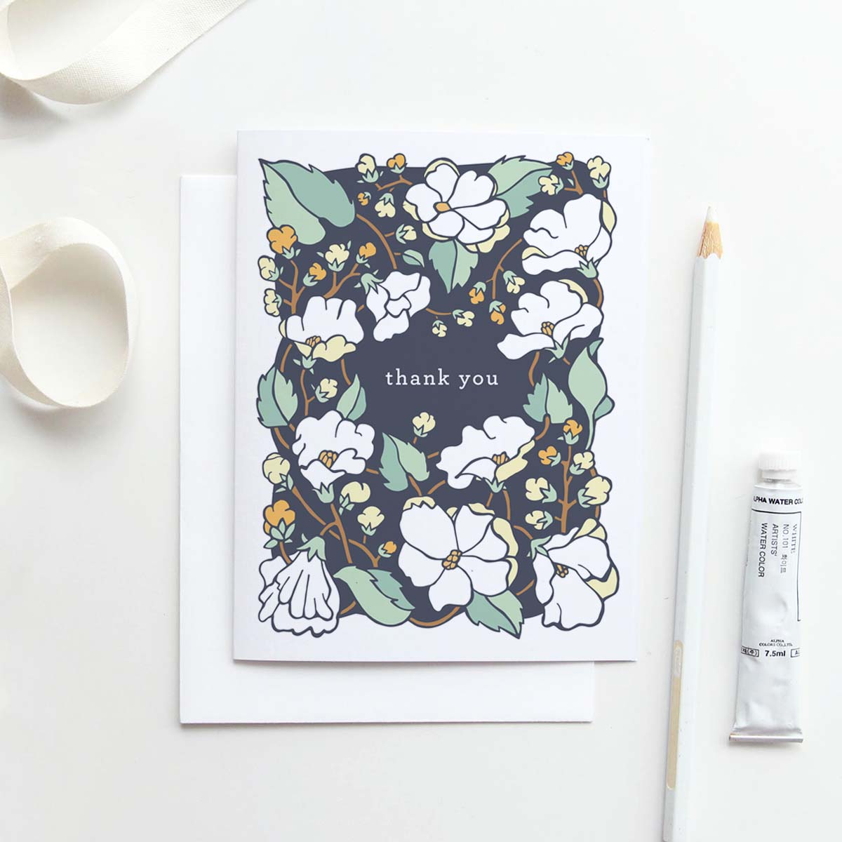Our  Sunny Delphinium  thank you card