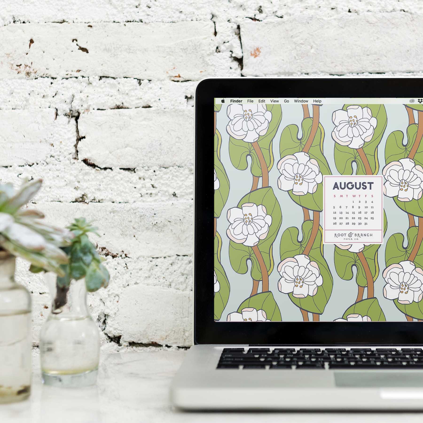 August 2018 Desktop Wallpaper, Free Floral August 2018 Monthly Calendar Desktop Background | Download Floral Illustrated Digital Wallpapers for Desktop, Tablet, + Phone | Root & Branch Paper Co.
