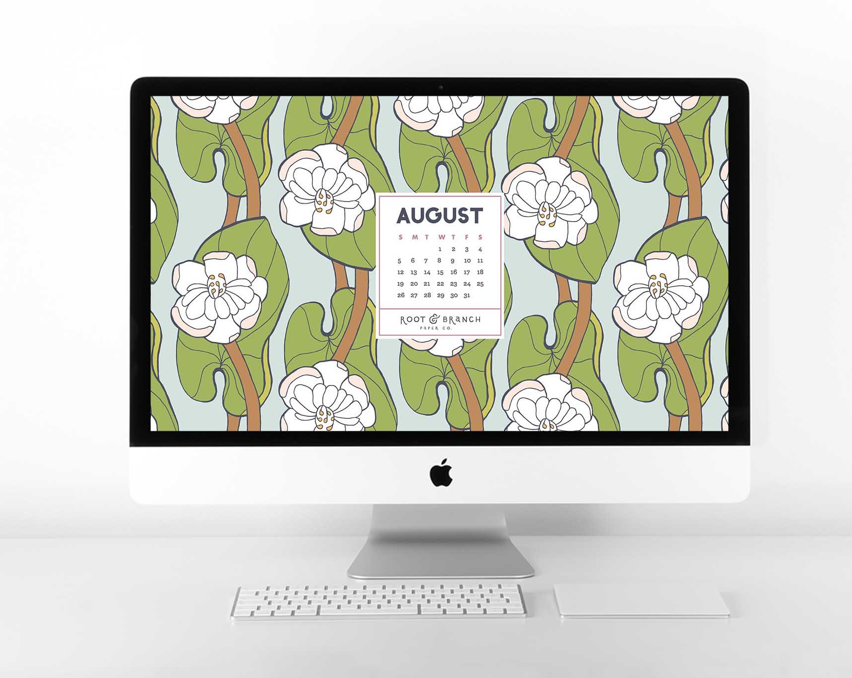 August 2018 Digital Calendar, Desktop Wallpaper, Floral Illustrated Calendar Wallpaper for Desktop, Tablet, and Phone // Root & Branch Paper Co. Blog