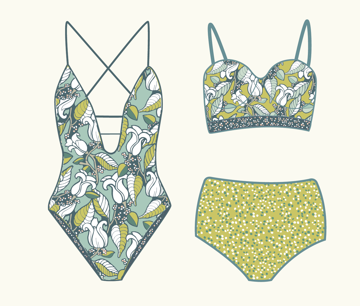Magnolia Branches: A Floral Pattern Collection | Surface Pattern Design from Root & Branch Paper Co.
