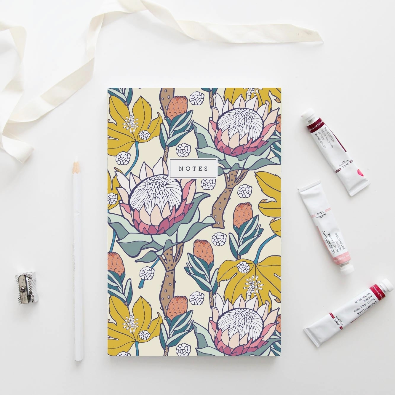 Pink Ice Protea Notebook
