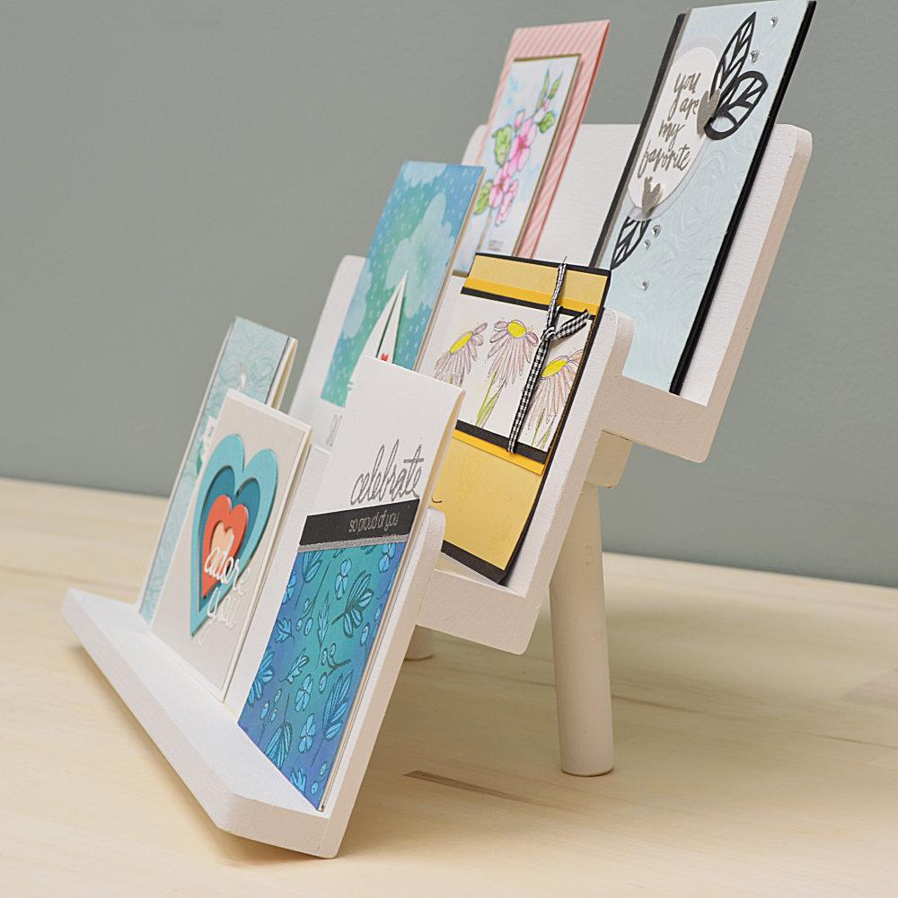 DIY card display stand from Organize More