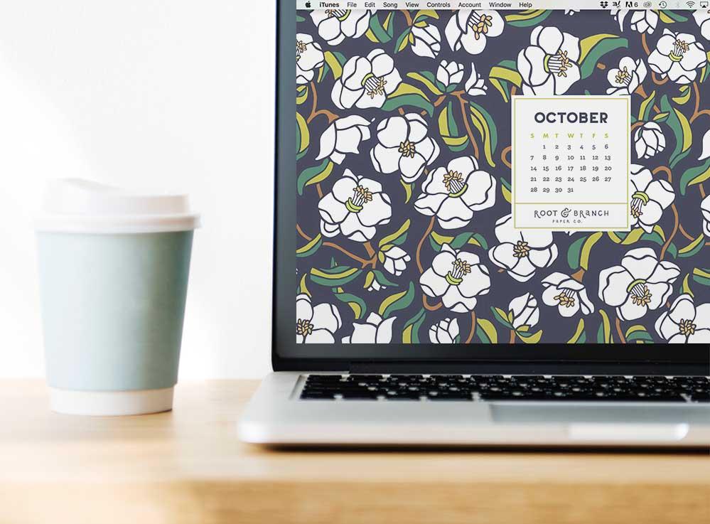October 2018 Desktop Wallpaper, Free Floral October 2018 Monthly Calendar Desktop Background | Download Floral Illustrated Digital Wallpapers for Desktop, Tablet, + Phone | Root & Branch Paper Co.