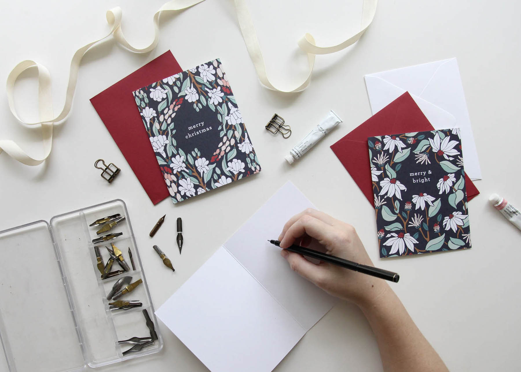 Christmas Cards 2018 Floral Illustrated Christmas Cards Holiday Cards by Root & Branch Paper Co.