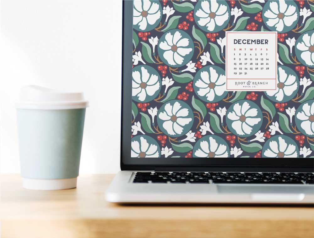 December 2018 Holiday Desktop Wallpaper, Free Floral Retro Vintage Christmas December 2018 Monthly Calendar Desktop Background   Download Floral Illustrated Digital Wallpapers for Desktop, Tablet, + Phone   Root & Branch Paper Co.