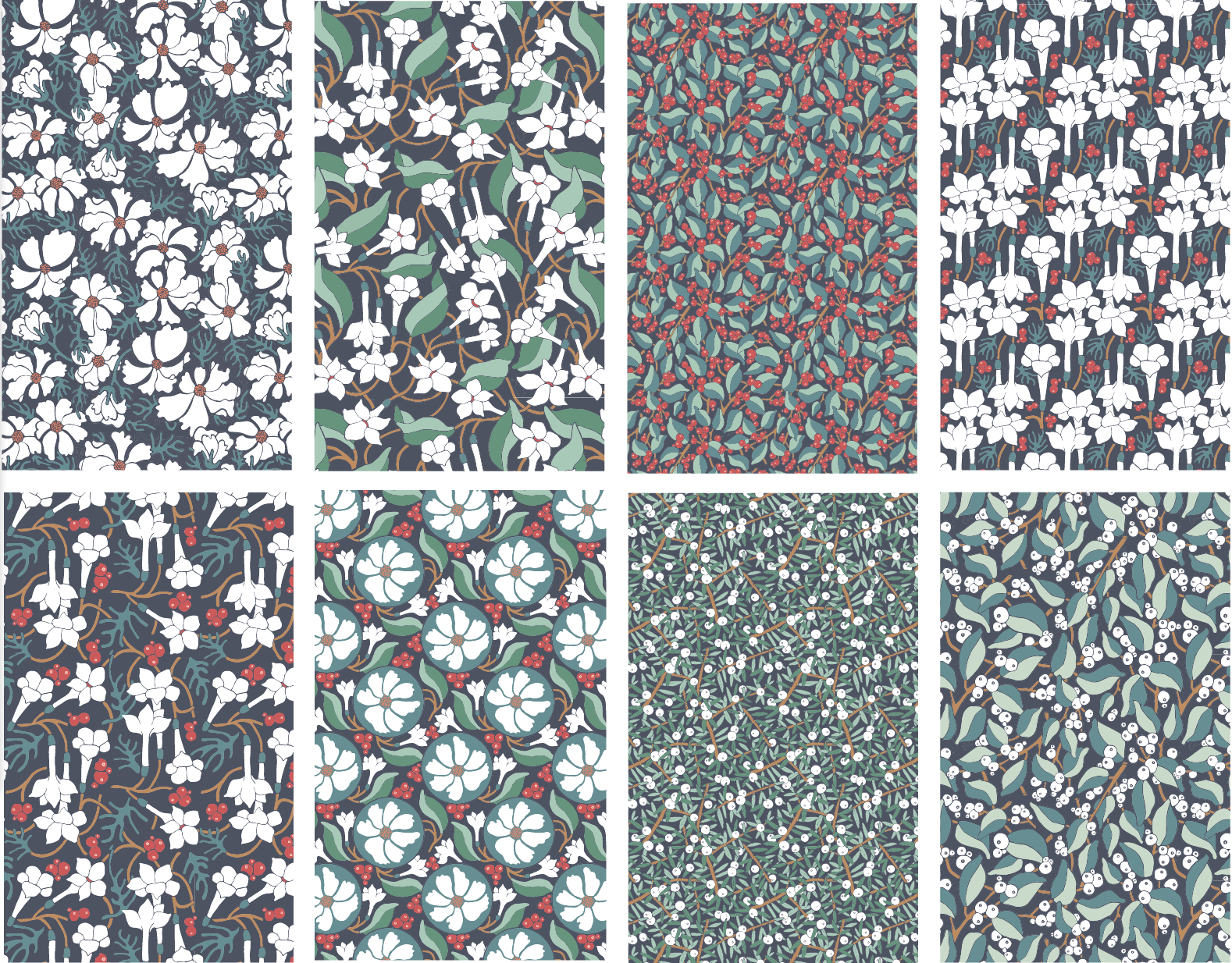 Wintry Woodland: Our Holiday Fabric Collection on Spoonflower, Designed by Jessie Tyree Jenness for Root & Branch Paper Co.