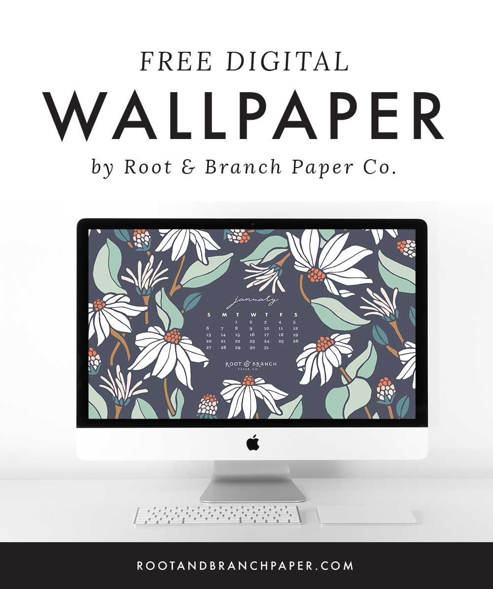 January 2019 Calendar Wallpaper, Free Digital Desktop Wallpaper, Illustrated Floral Desktop Calendar by Root & Branch Paper Co.