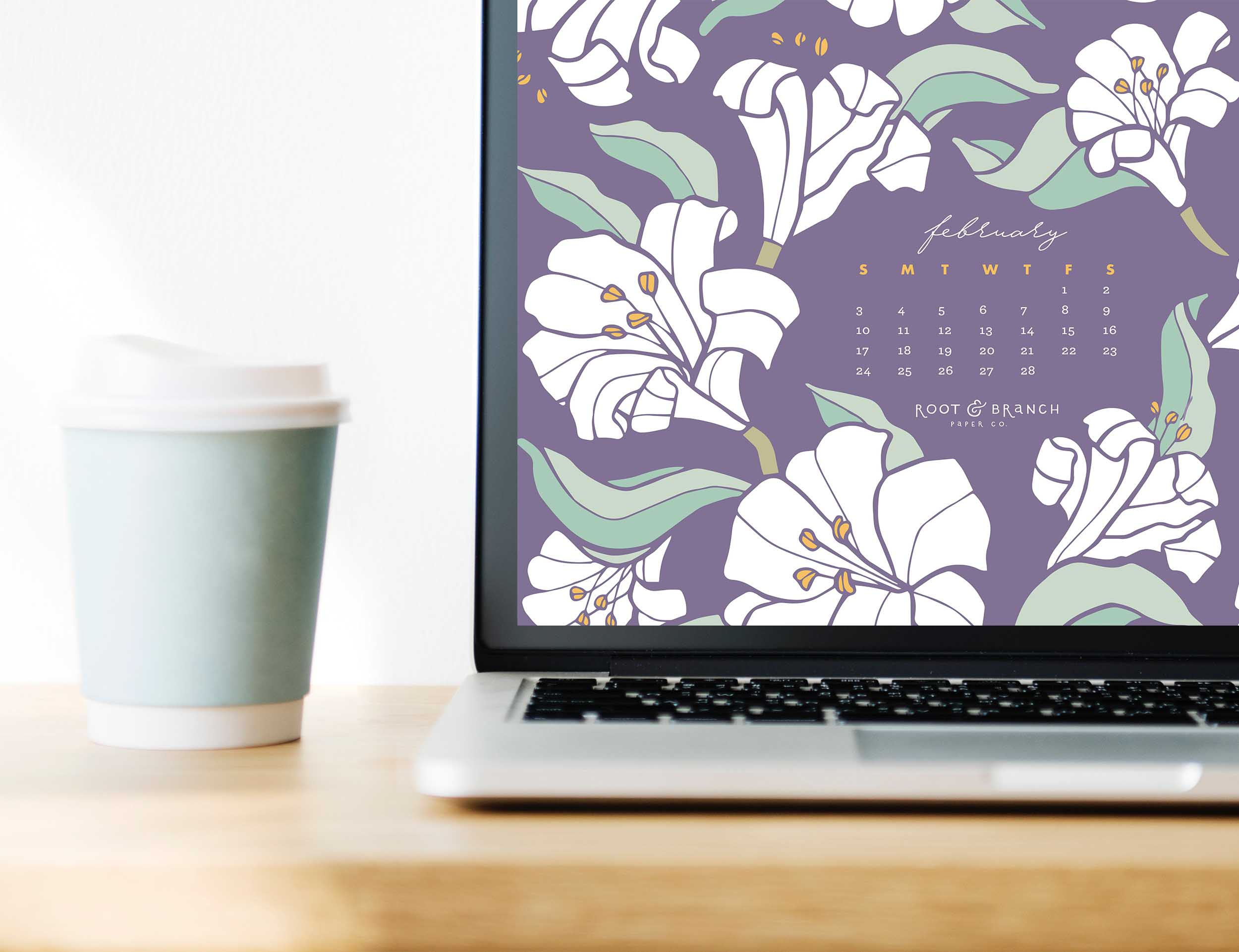 February 2019 Calendar Wallpaper, Free Digital Desktop Wallpaper, Illustrated Floral Desktop Calendar by Root & Branch Paper Co.