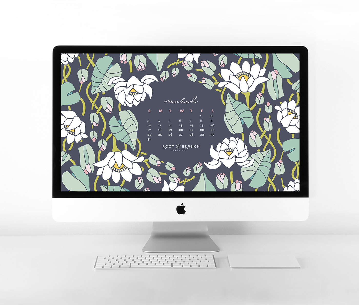 March 2019 Calendar Wallpaper, Free Digital Desktop Wallpaper, Illustrated Floral Desktop Calendar by Root & Branch Paper Co.