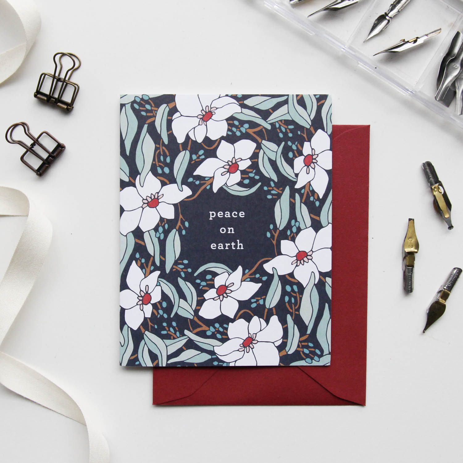 Peace on Earth Card - Christmas Cards 2018, Holiday Cards | Illustrated Floral Christmas Cards by Root & Branch Paper Co.