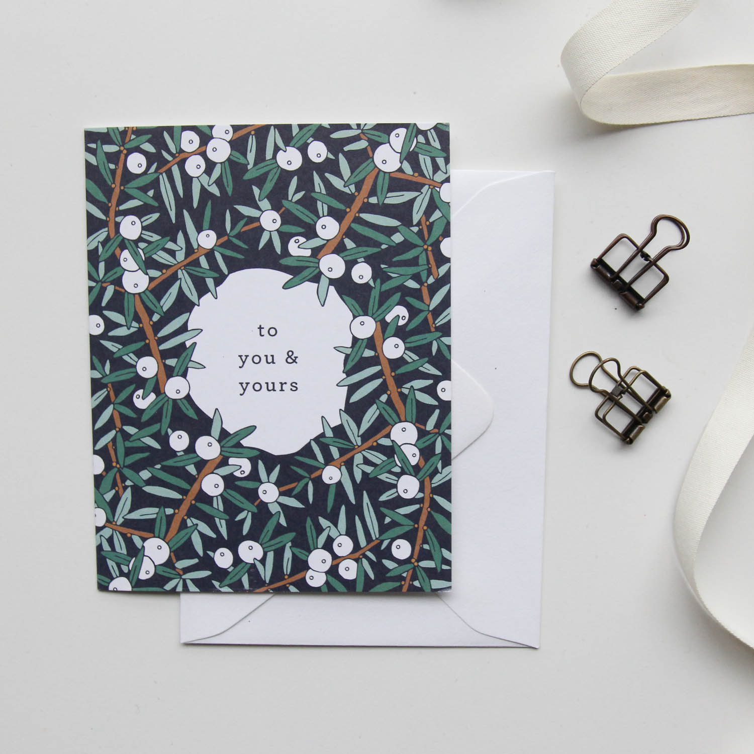 To You & Yours Card - Christmas Cards 2018, Holiday Cards | Illustrated Floral Christmas Cards by Root & Branch Paper Co.