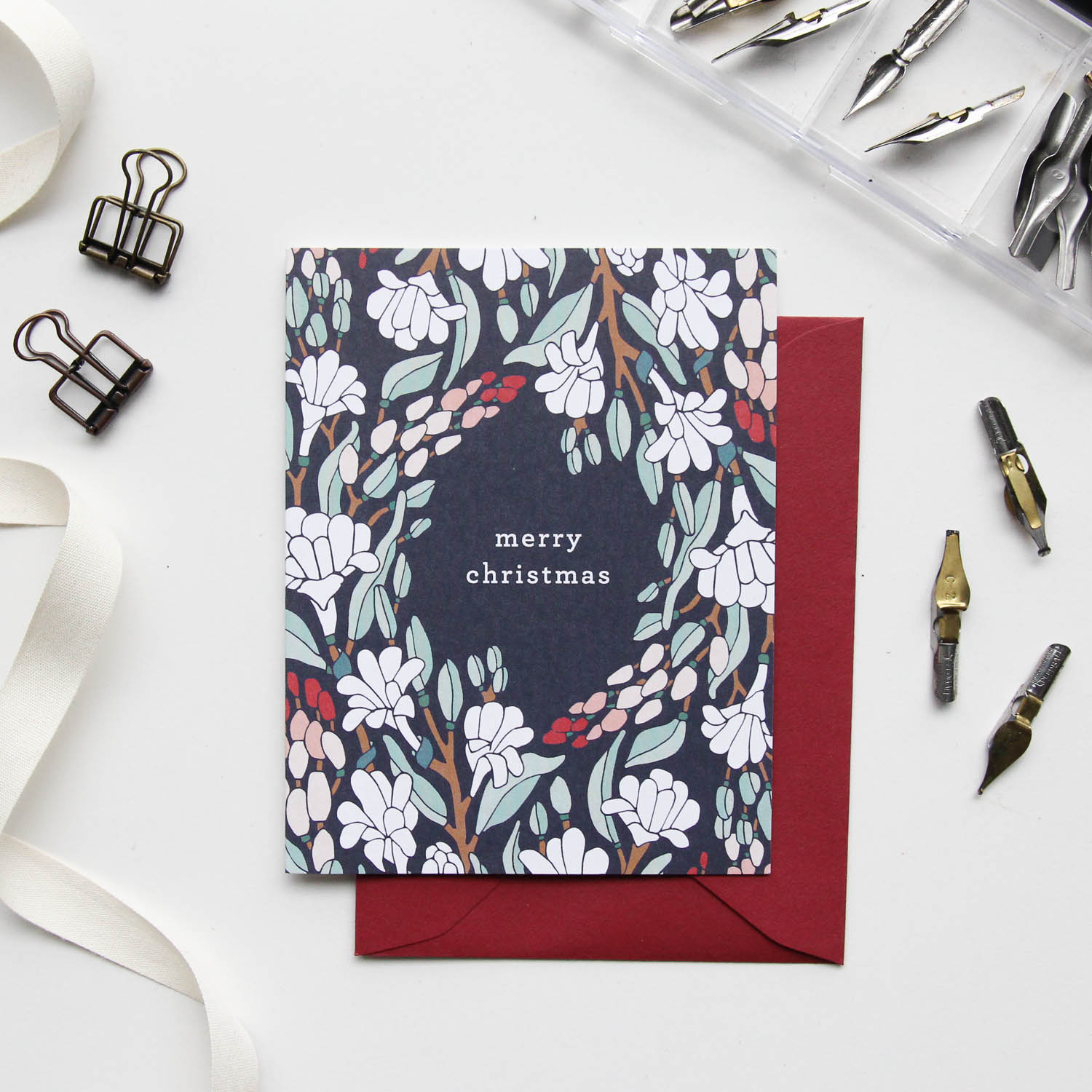 Merry Christmas Card - Christmas Cards 2018, Holiday Cards | Illustrated Floral Christmas Cards by Root & Branch Paper Co.