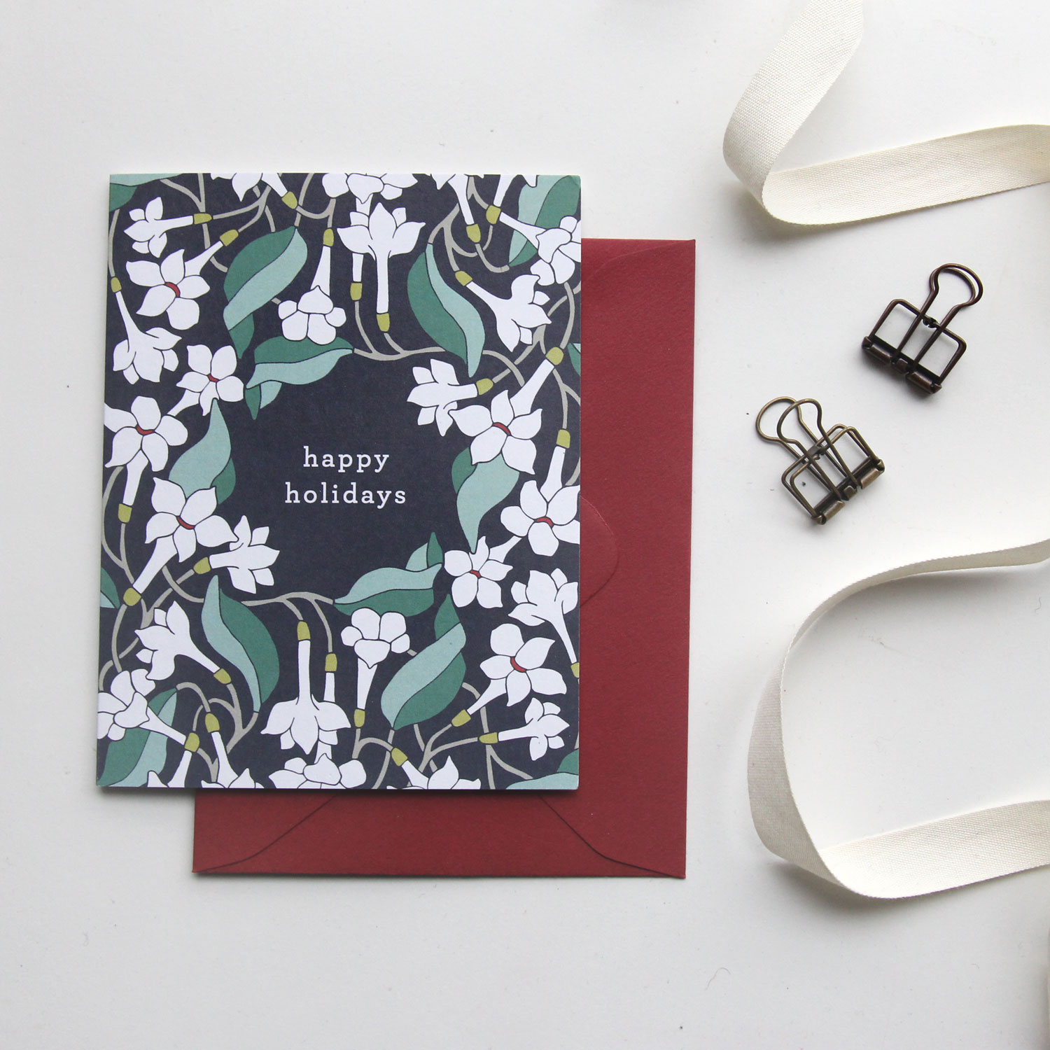 Happy Holidays Card - Christmas Cards 2018, Holiday Cards | Illustrated Floral Christmas Cards by Root & Branch Paper Co.