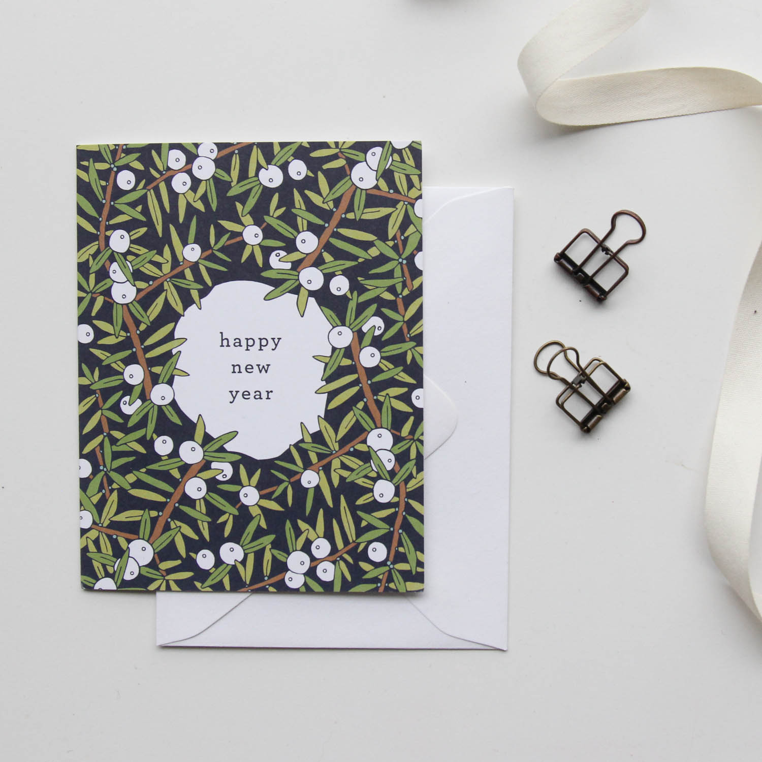 Happy New Year Card - Christmas Cards 2018, Holiday Cards | Illustrated Floral Christmas Cards by Root & Branch Paper Co.