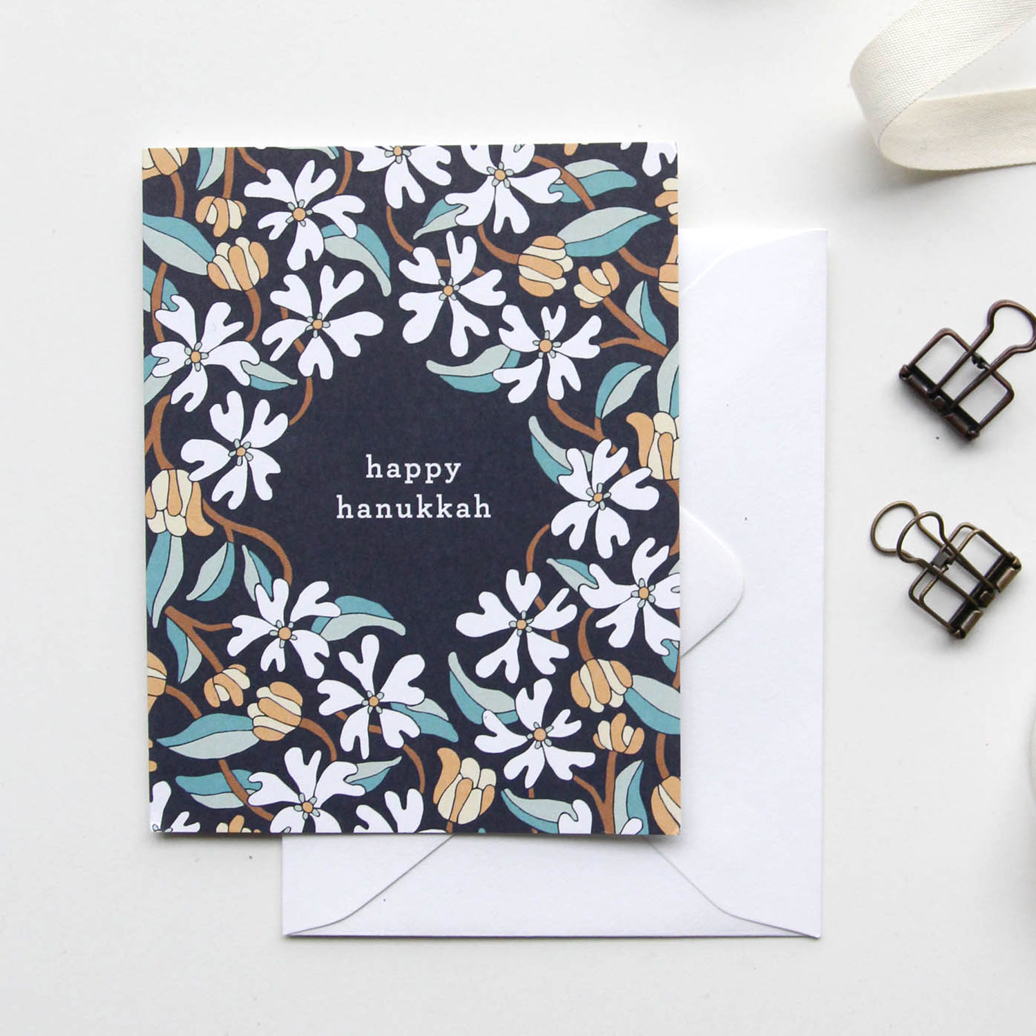 Happy Hanukkah Card - Christmas Cards 2018, Holiday Cards | Illustrated Floral Holiday Cards by Root & Branch Paper Co.