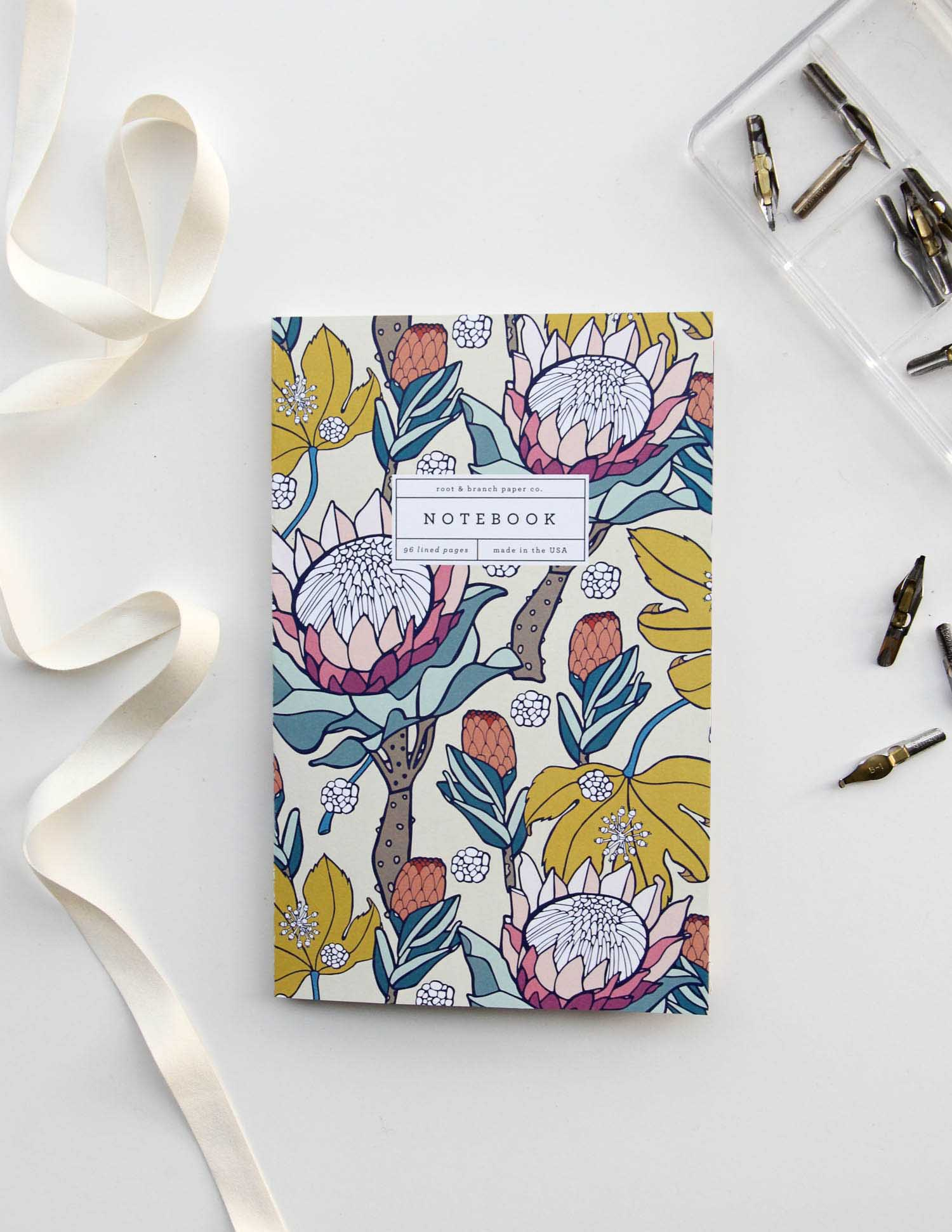 The Pink Ice Protea notebook, our best-selling notebook style