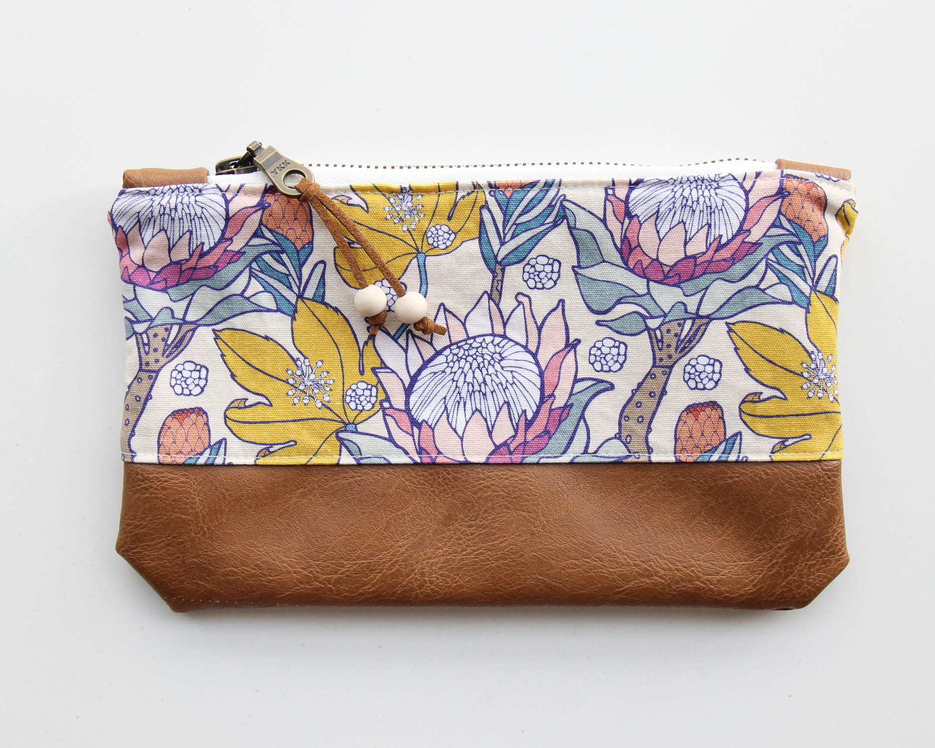 Pink Ice Protea Zip Pouch by Root & Branch Paper Co.