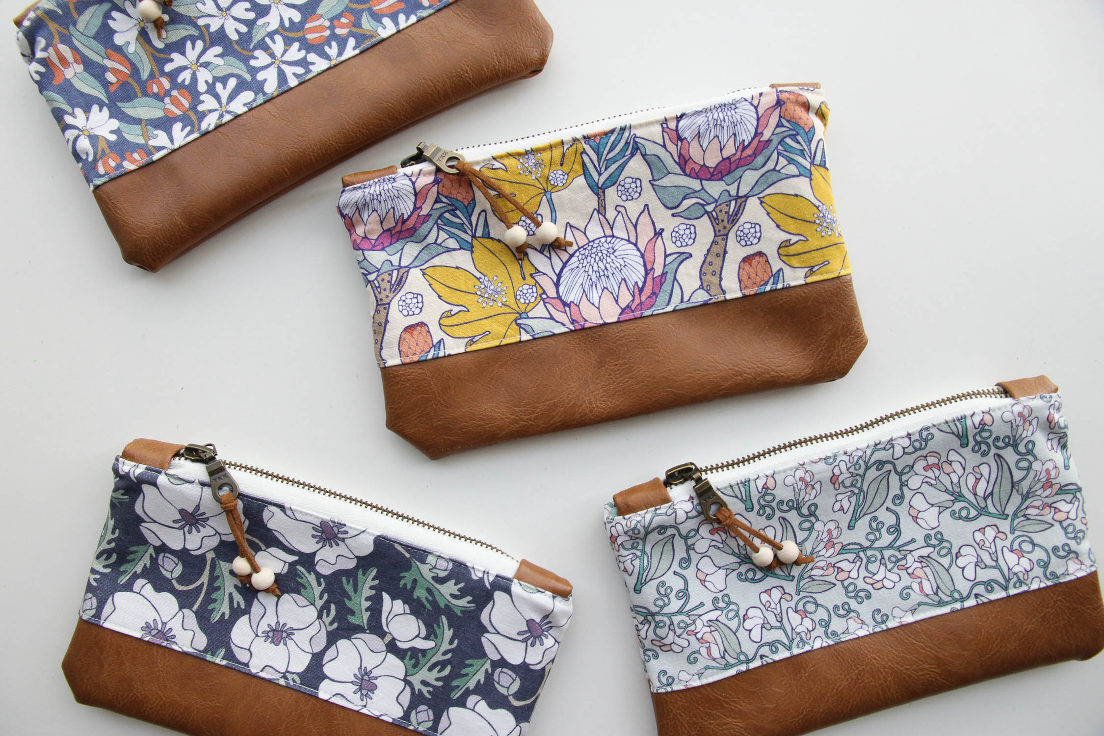 Our Zip Pouches come in 5 designs featuring our most popular floral patterns.