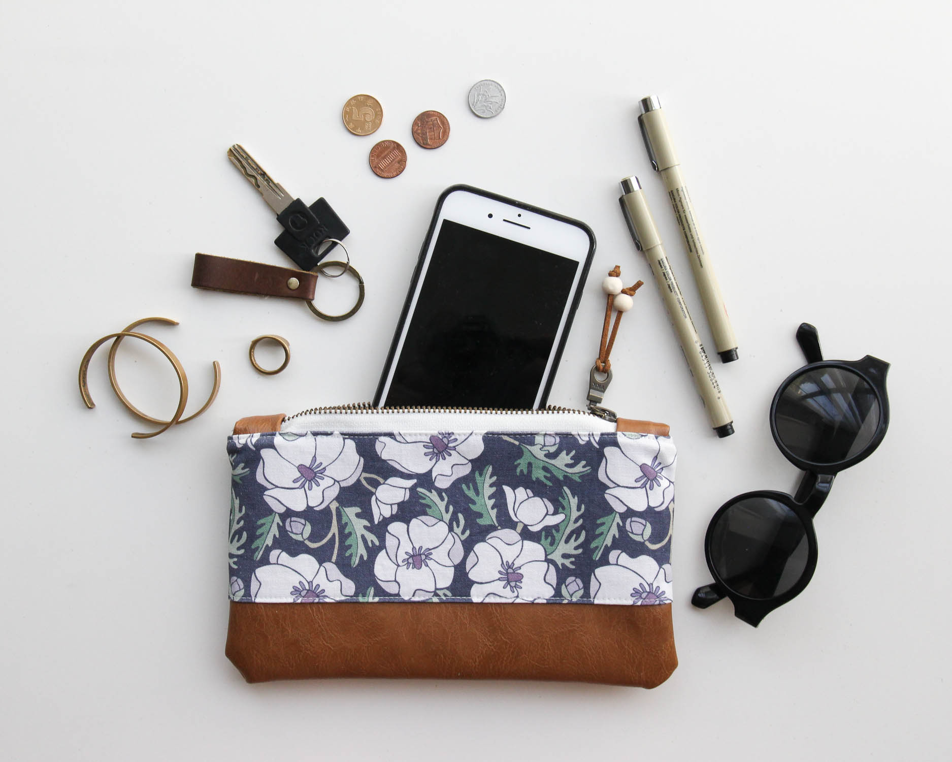 The  Marianne Anemone Zip Pouch