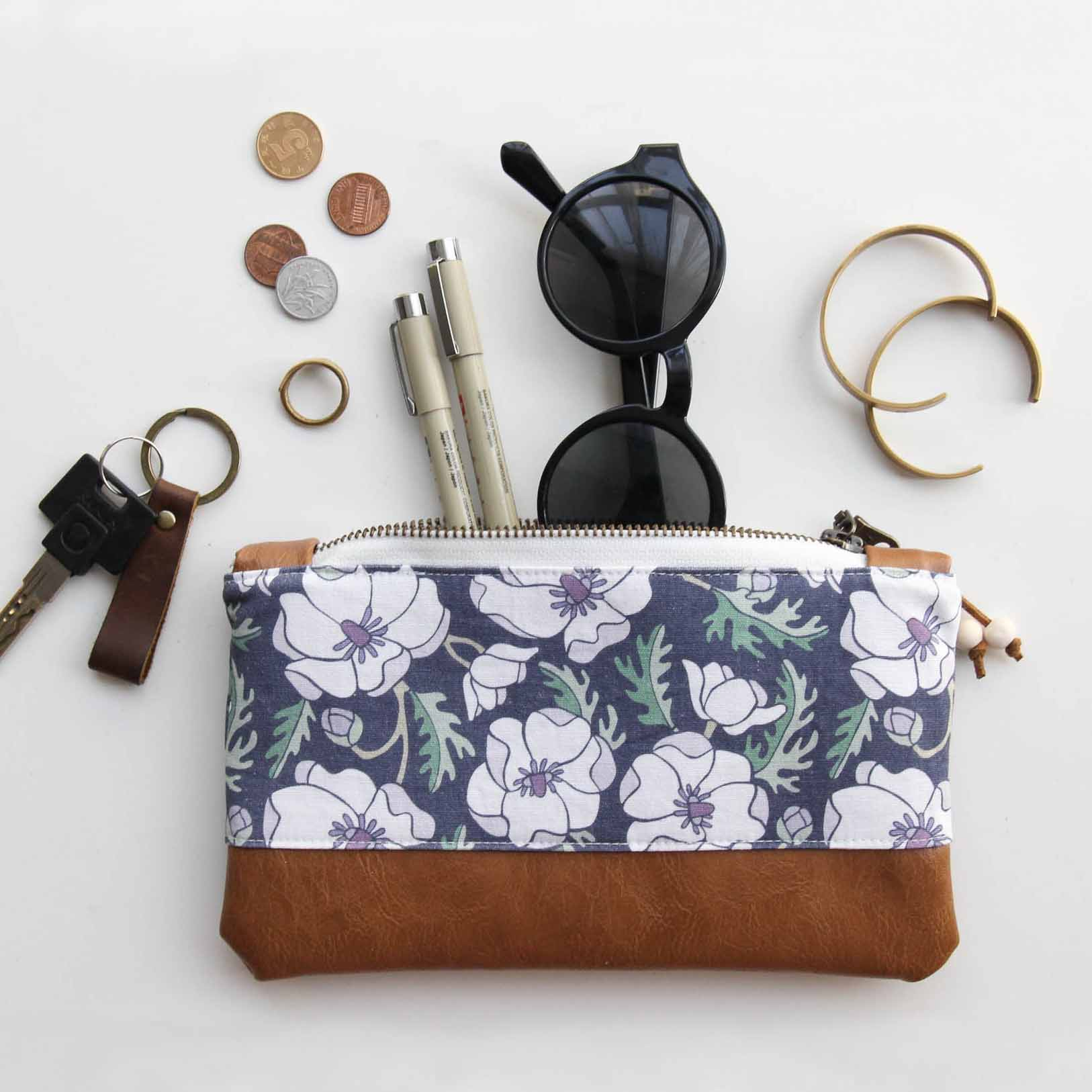 Our  Marianne Anemone Zip Pouch
