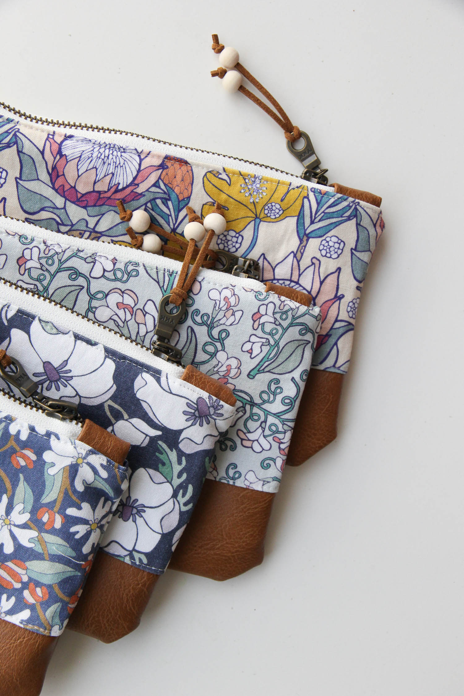 Floral Zip Pouches, Zipper Clutches, Handmade Wallet Bag Accessories from Root & Branch Paper Co.