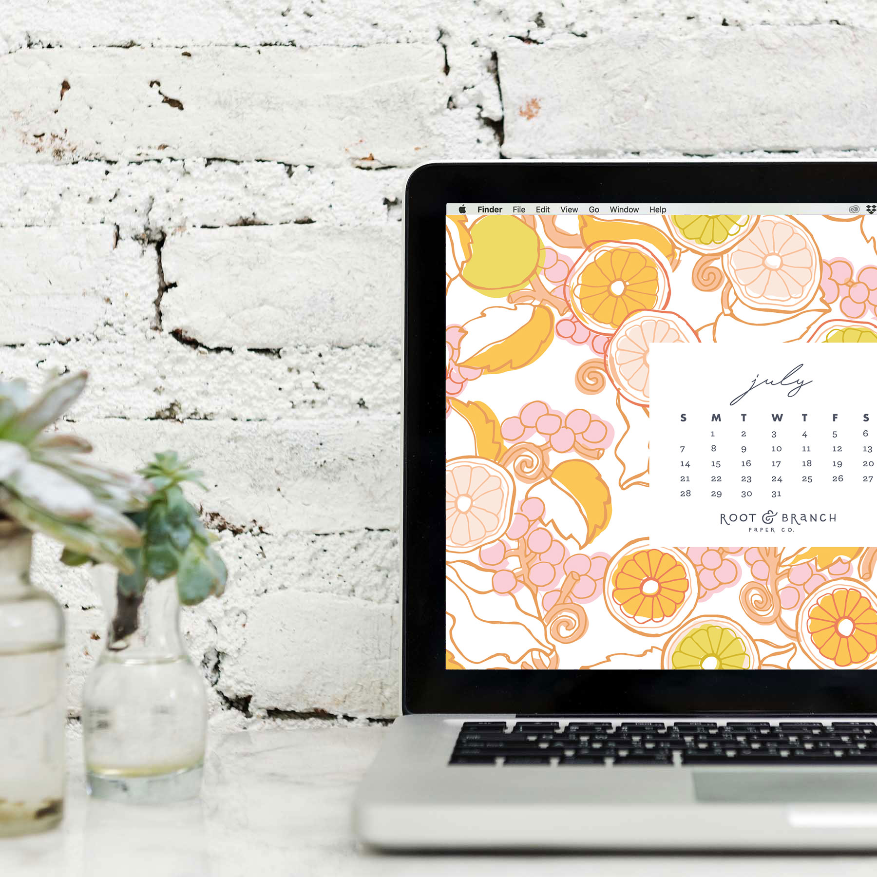 July 2019 Calendar Desktop Wallpaper, July 2019 Digital Wallpapers for Download from Root & Branch Paper Co.