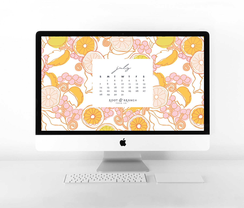 July 2019 Calendar Wallpaper, Free Digital Desktop Wallpaper, Illustrated Floral Desktop Calendar by Root & Branch Paper Co.