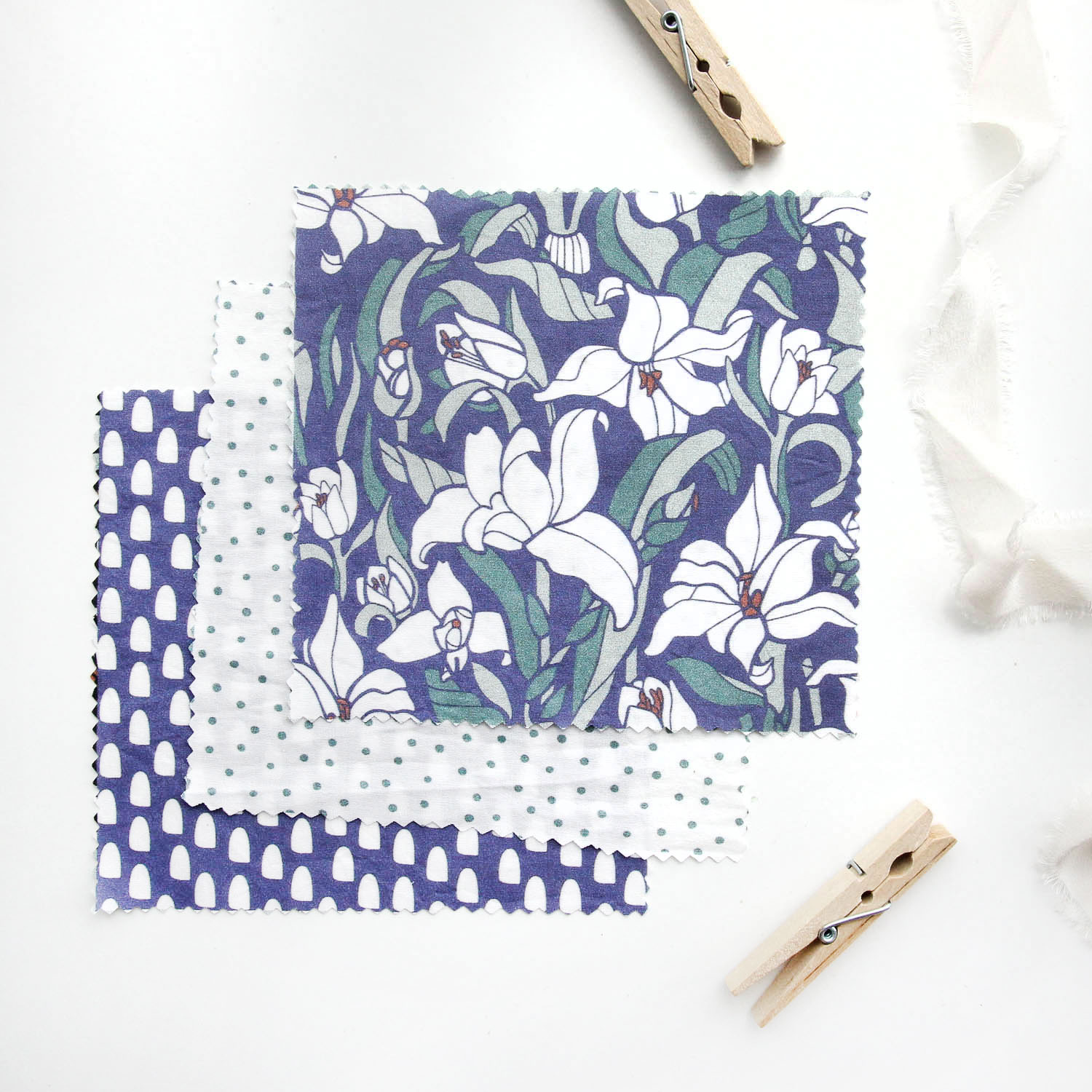 Lotus Pond Fabric Swatches - Floral Fabric Designs for Licensing by Root & Branch Paper Co.