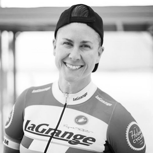 Born and raised in Sydney, Australia, Danielle moved to the US during October, 2005. For the last 12 years she has made Los Angeles her home and La Grange has become her family. Danielle took up racing 4 years ago and has a passion for technical criteriums and track racing. A sprinter at heart, she also loves a fast downhill but avoids climbing as much as possible. As captain of the Women's 3/4/5 team for the last 2 years, some her proudest moments aren't necessarily standing on the podium, it's encouraging new racers and building a team that respects and cares for each other on and off the bike.